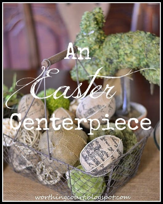 There lots of texture in this Easter centerpiece that is filled with burlap and natural elements with pops of green.