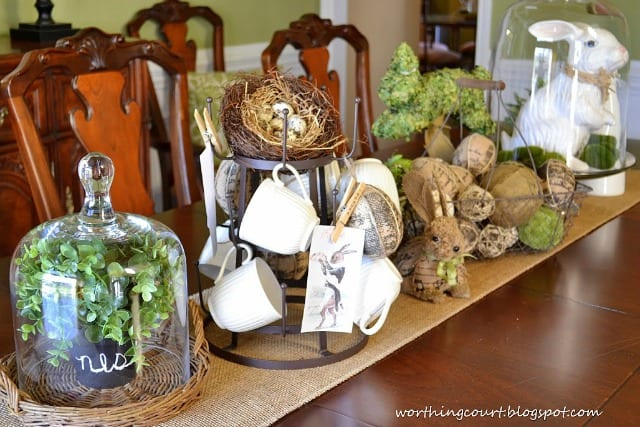 An Easter centerpiece with loads of interest and texture. Neutral colors with pops of fresh green.