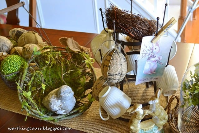 A faux bird nest in an Easter Centerpiece