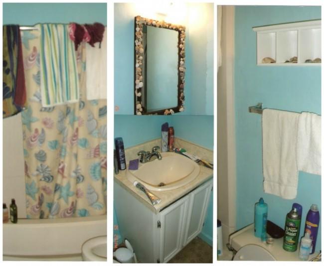 beach bathroom before collage