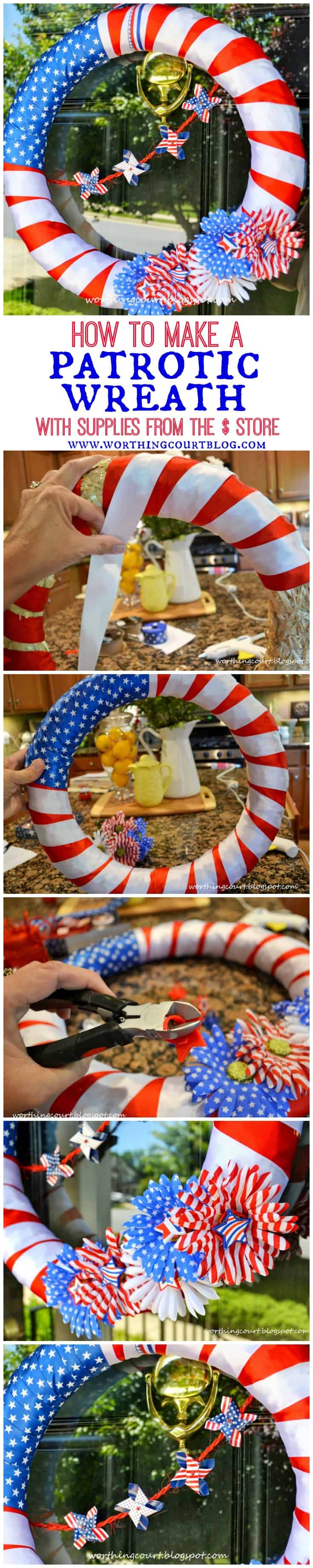 Step-by-step directions for making a patriotic wreath for Memorial Day, Flag Day and July 4th using supplies from the dollar store.