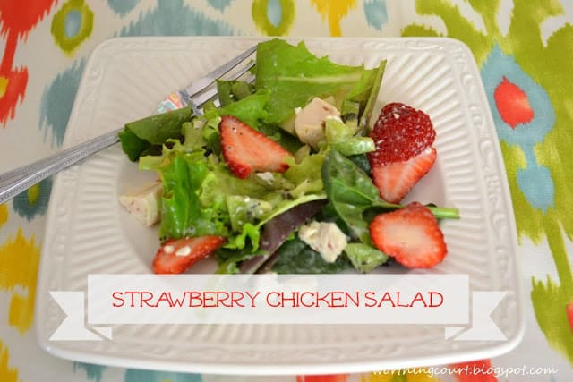 Strawberry Chicken Salad Recipe on a white plate.