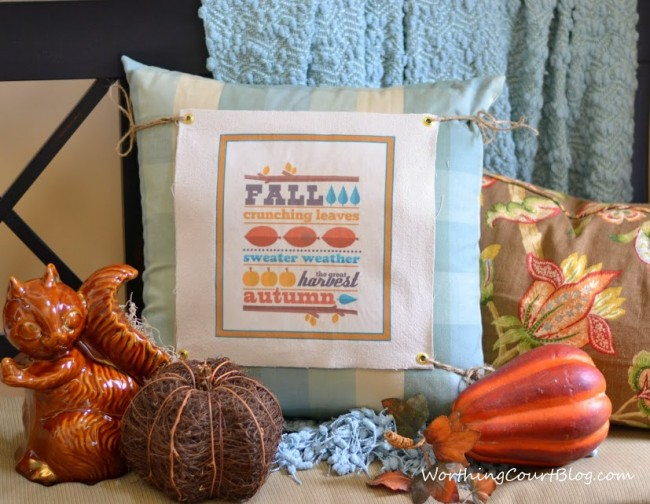 Fall text changeable pillow cover