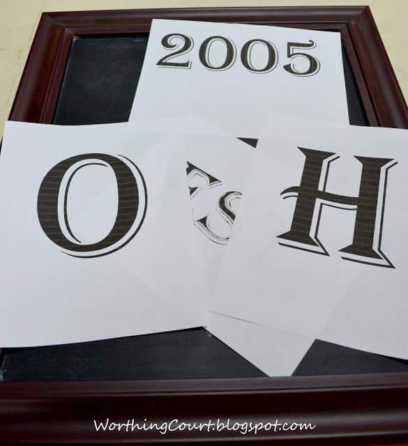 Printed letters for making chalkboard art