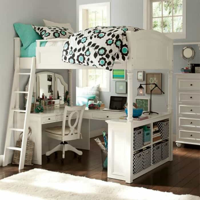 How To Create A Homework Area For Kids - a loft bed is perfect for a small bedroom