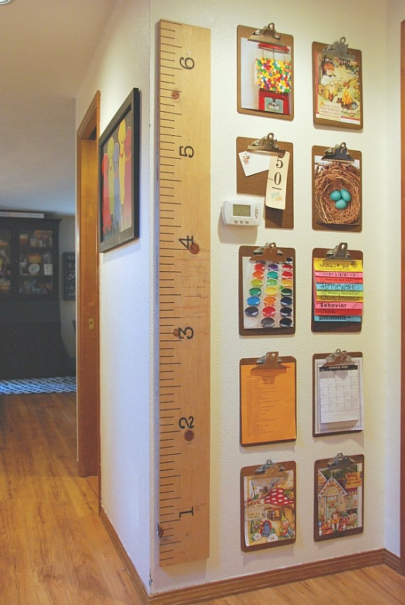 How To Create A Homework Area For Kids - use clipboards to display homework and art