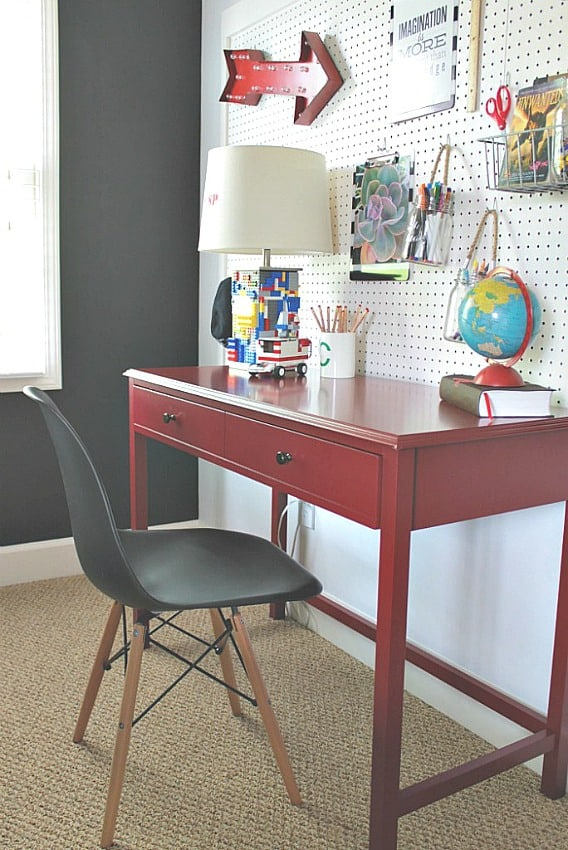How To Create A Homework Area For Kids - use pegboard to organize a homework area