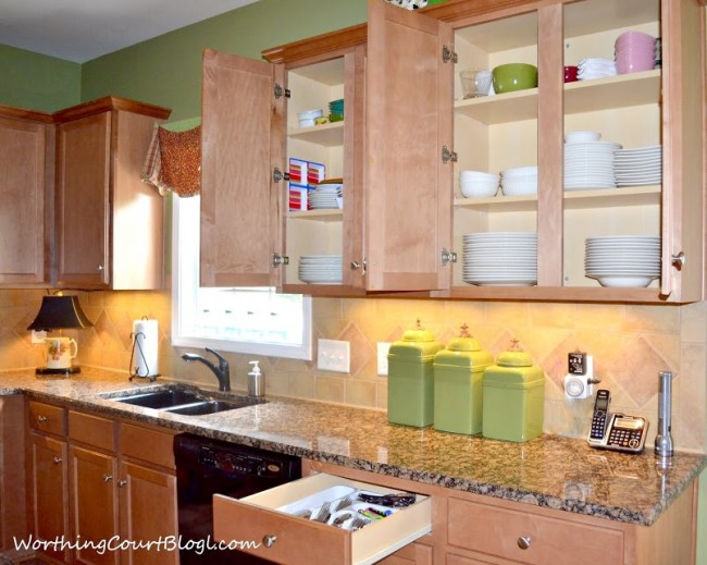 Keep dishes neatly stacked in cabinets for less chaos (1) - All About The Details Kitchen Tour - Worthing Court