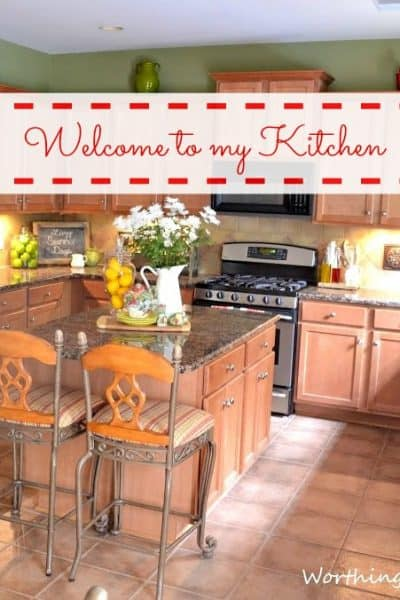 Kitchen tour in a kitchen with maple cabinets