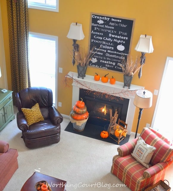 Worthing Court: Fall mantel with oversized chalkborad printable and pumpkin topiary