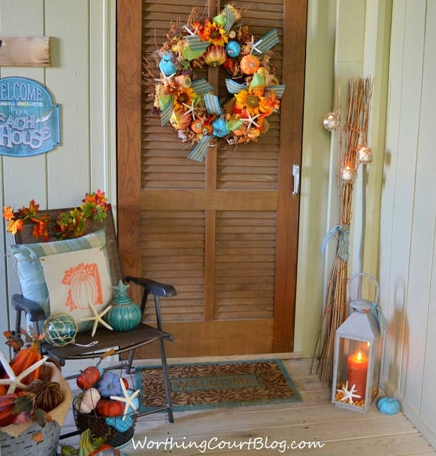 Beach themed fall porch
