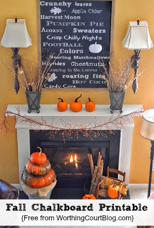 Free chalkboard printable above the fireplace