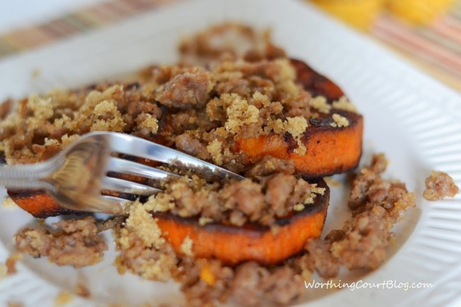 Roasted Sweet Potato Medallions With Sausage Crumbles4