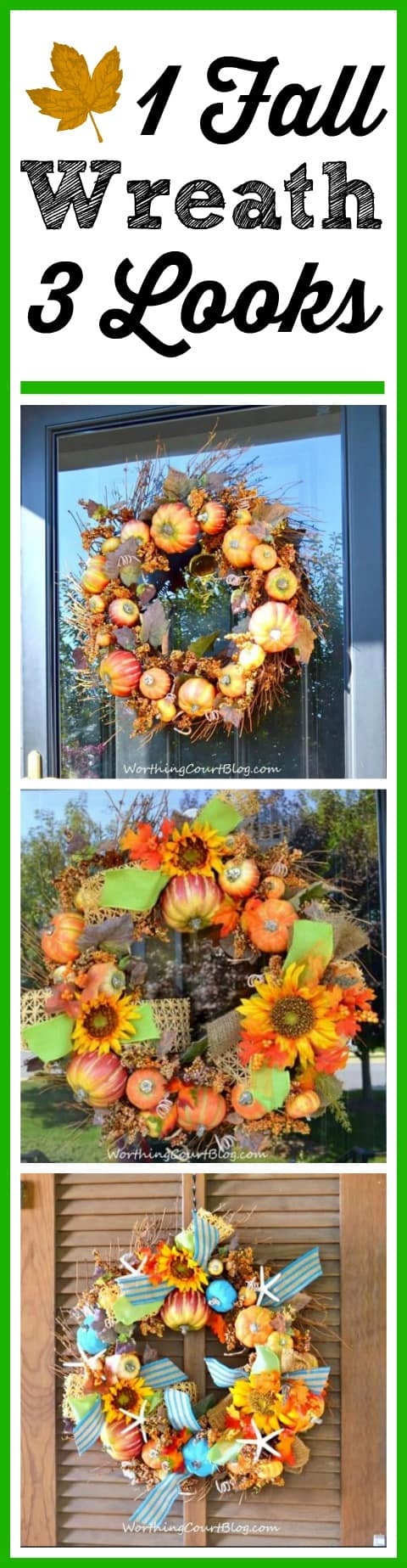 One fall wreath decorated three different ways