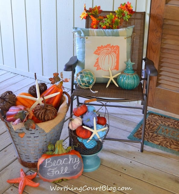 Worthing Court: Beachy fall porch vignette