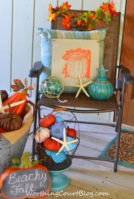 Worthing Court: Beach fall porch vignette