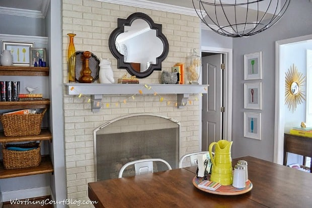 Worthing Court: Fall mantel with modern decor