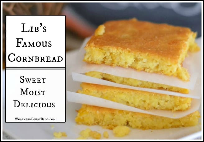 This slightly sweet and moist cornbread is perfect with chili and soup. :: WorthingCourtBlog.com