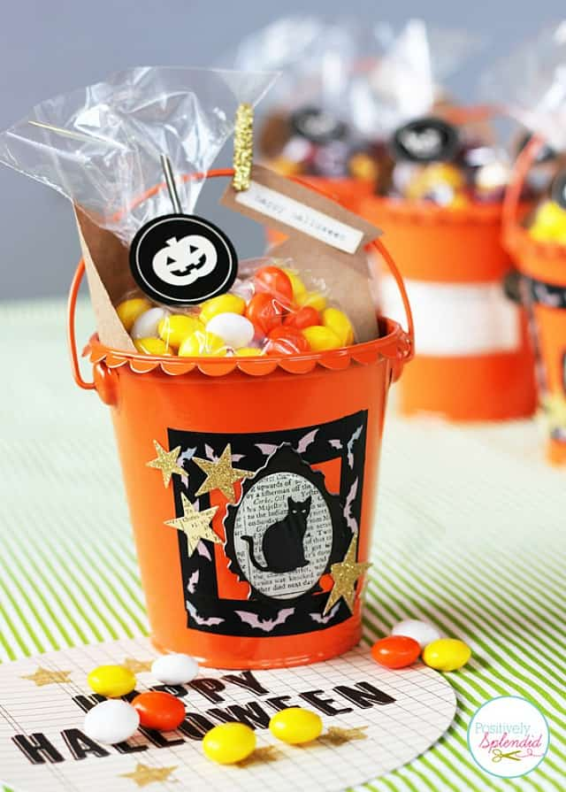 Use mini buckets for cute Halloween treat bags