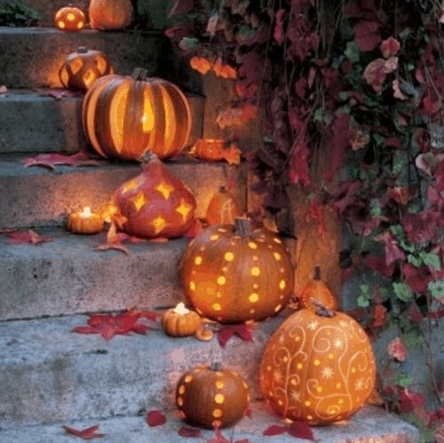 Pretty carved pumpkins