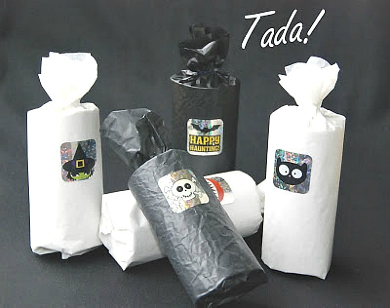 Halloween treat bags made with tp holders and tissue paper