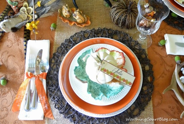 Worthing Court: Woodland Inspired Thanksgiving place setting