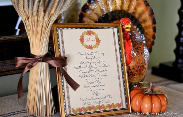 Worthing Court: Free menu printable for a Thanksgiving or Fall meal