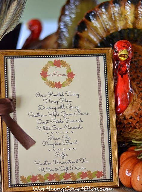 Worthing Court: Free printable menu for a Thanksgiving or Fall meal