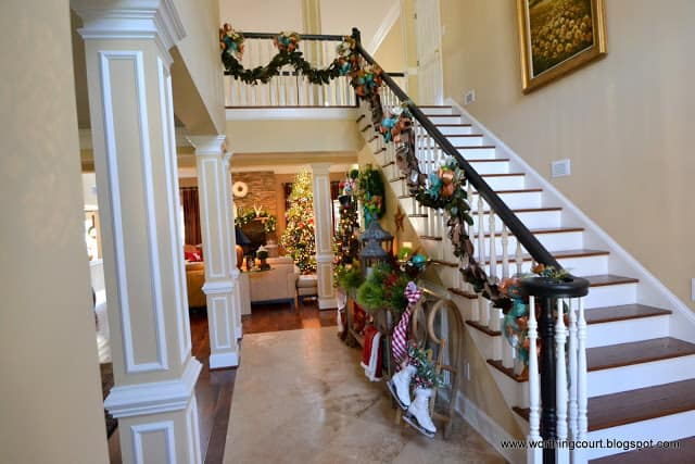 Worthing Court: Christmas garland and decorations in the foyer