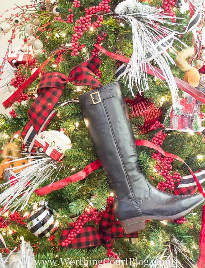 riding boot wired to a Christmas tree