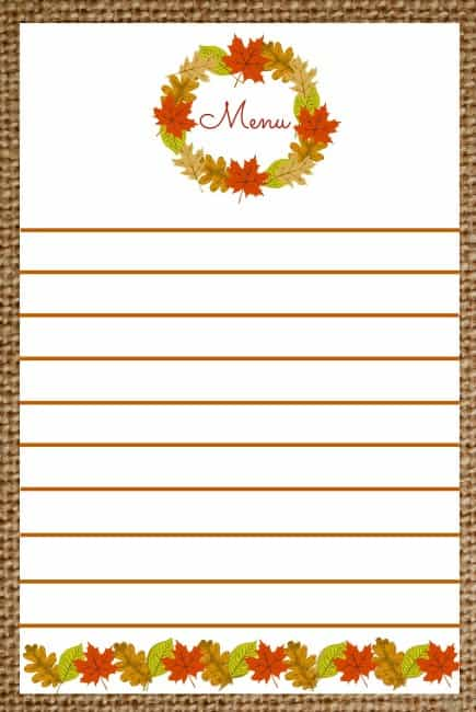 Worthing Court: Free Menu Printable With Lines
