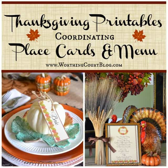 Free coordinating place cards and menu for a thanksgiving or fall meal