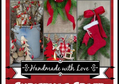 No-Sew Burlap and Red Ticking Christmas Tree Garland