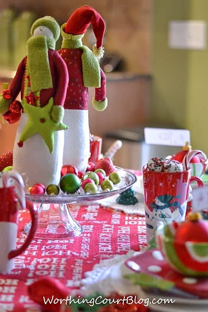 Worthing Court: Snowman centerpiece for Christmas