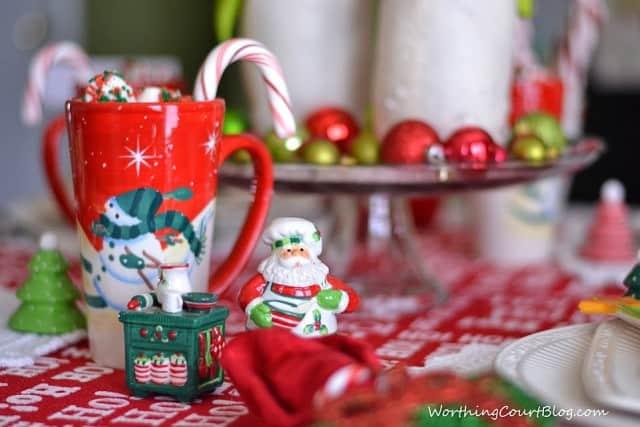 Christmas figurines on the table.