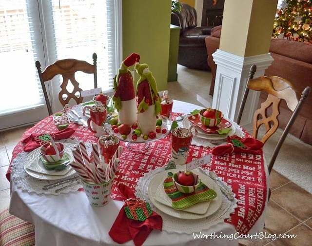 Christmas breakfast tablescape.
