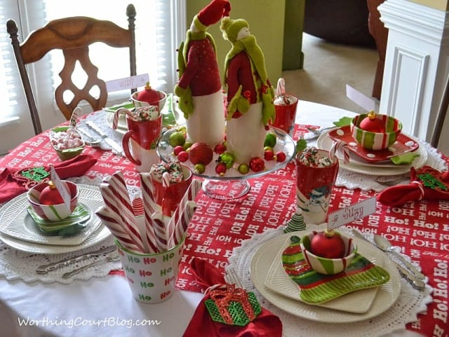 Red and green table setting.