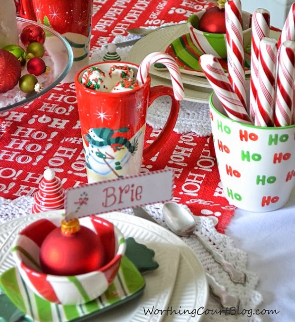 Worthing Court: Free candycane placecard printable
