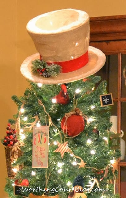 worthing court burlap snowmans hat for a rustic christmas tree topper - Vintage Rustic Christmas Decorations