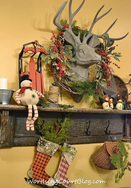 Worthing Court: Vintage mantel decorated for Christmas