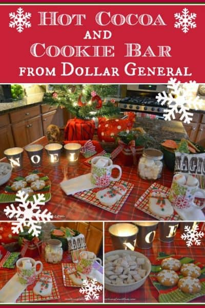 Worthing Court: Hot Cocoa and cookies Christmas table using products from Dollar General