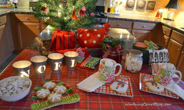 Worthing Court: hot cocoa and cookie Christmas table using products from Dollar General