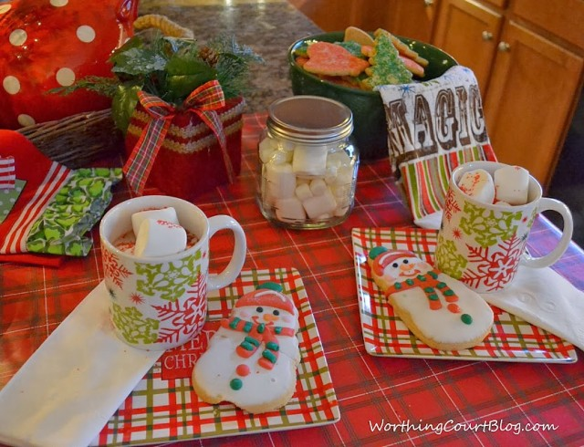 Worthing Court: Hot cocoa and cookie table using products from Dollar General