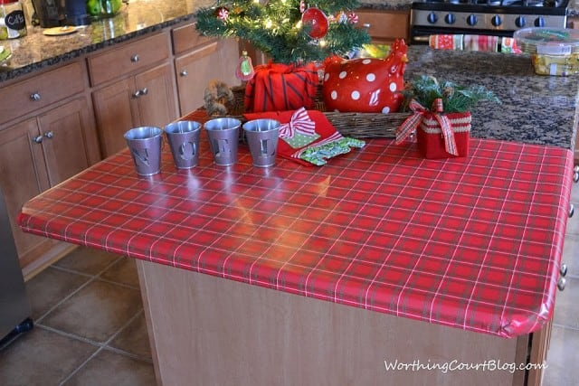 Worthing Court: Wrapping paper used as a tablecloth