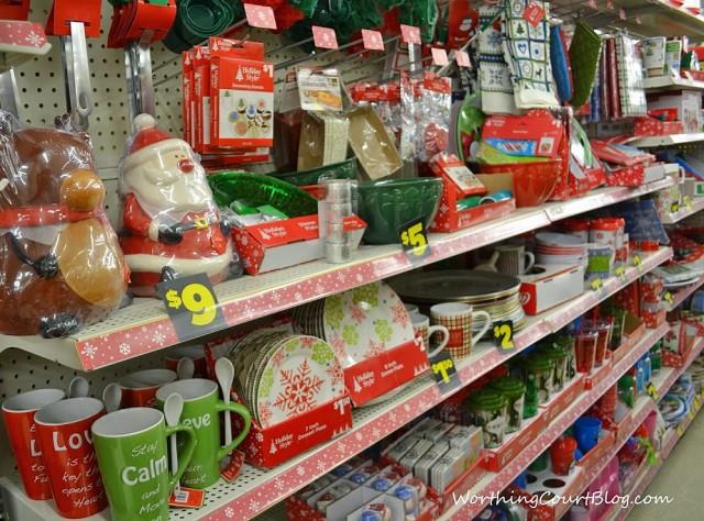Dollar General Christmas decor aisle