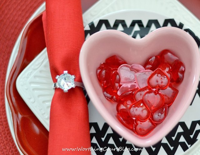Stacked dishes in a Valentine's Day tablescape