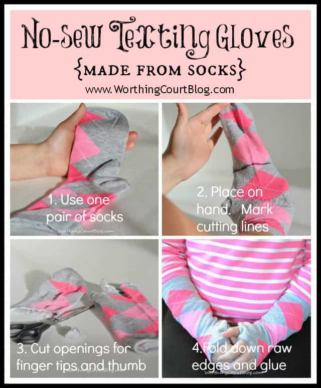 Worthing Court:  No-sew texting gloves made from dollar store socks