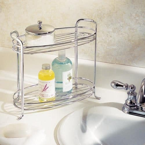 stylish two tiered organizing tray for a bathroom
