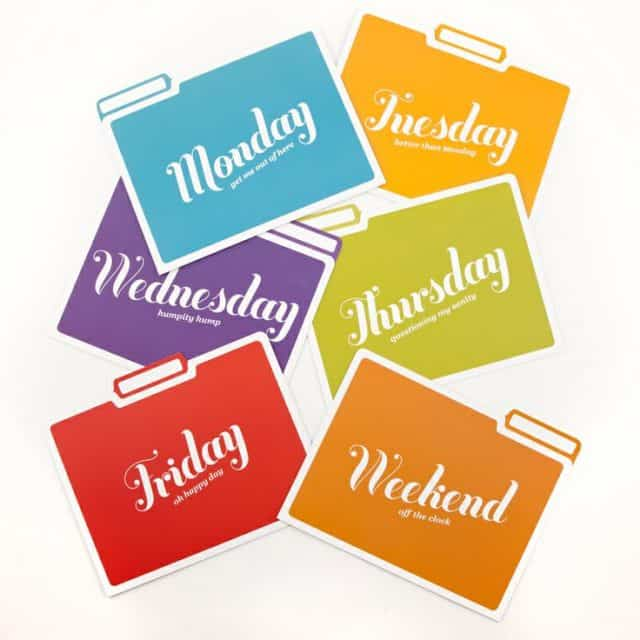 Day of the week folders would work well for keeping papers needed on a daily basis