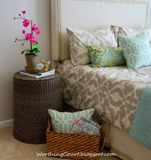 Worthing Court: Use an upside-down hamper for a nightstand.